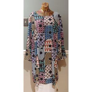 Eloquii Dress colorful print flare sleeves Sz 22